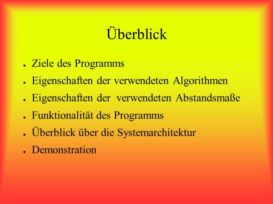 Überblick Ziele des Programms Eigenschaften der verwendeten Algorithmen Eigenschaften der verwendeten Abstandsmaße Funktionalität des Programms Überblick über die Systemarchitektur Demonstration