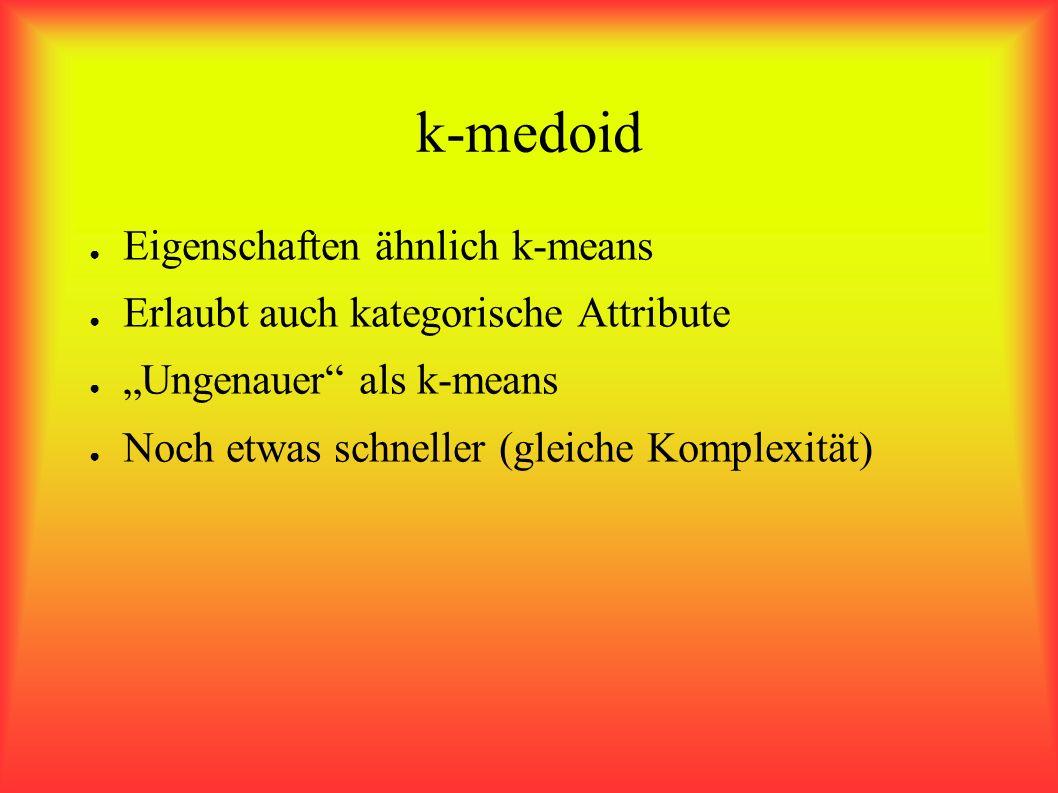 k-medoid Eigenschaften ähnlich k-means Erlaubt auch kategorische Attribute Ungenauer als k-means Noch etwas schneller (gleiche Komplexität)