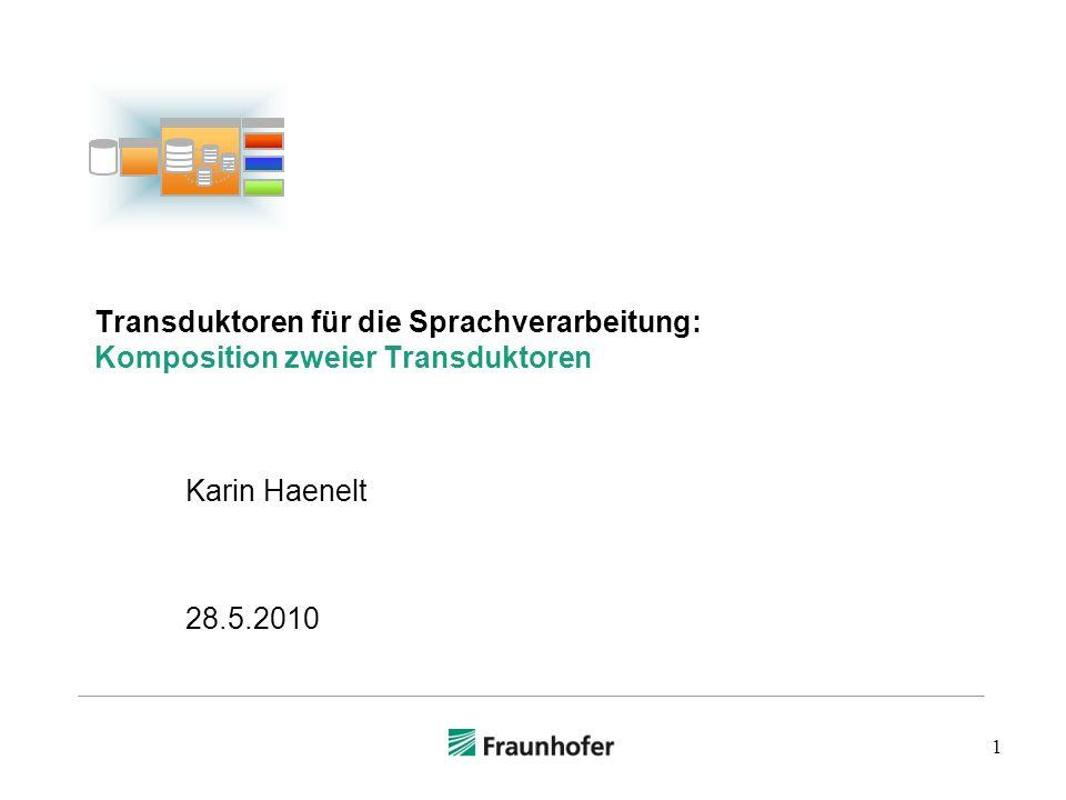 1 Transduktoren für die Sprachverarbeitung: Komposition zweier Transduktoren Karin Haenelt 28.5.2010