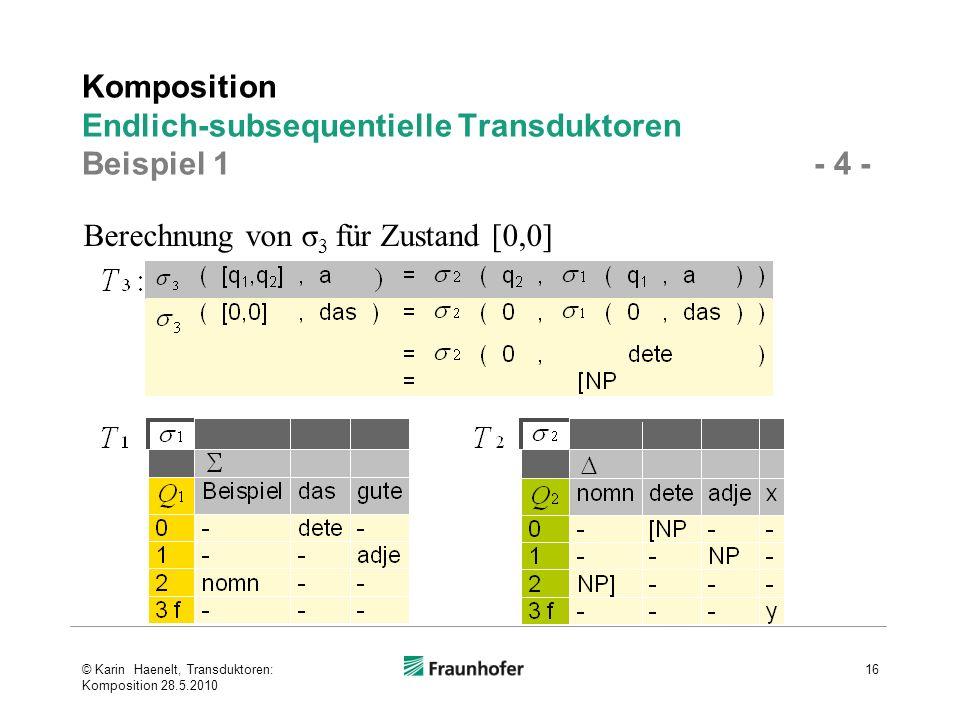 Komposition Endlich-subsequentielle Transduktoren Beispiel 1 - 4 - © Karin Haenelt, Transduktoren: Komposition 28.5.2010 16 Berechnung von σ 3 für Zus