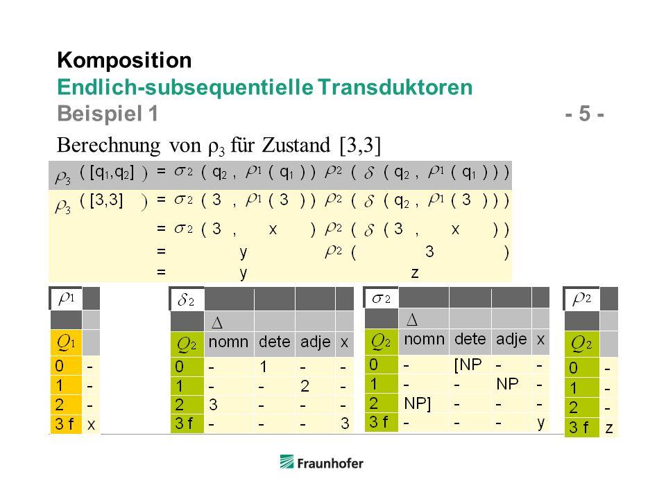 Berechnung von ρ 3 für Zustand [3,3] Komposition Endlich-subsequentielle Transduktoren Beispiel 1 - 5 -