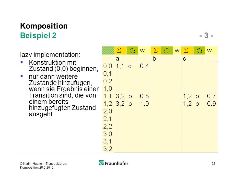 Komposition Beispiel 2 - 3 - lazy implementation: Konstruktion mit Zustand (0,0) beginnen, nur dann weitere Zustände hinzufügen, wenn sie Ergebnis ein