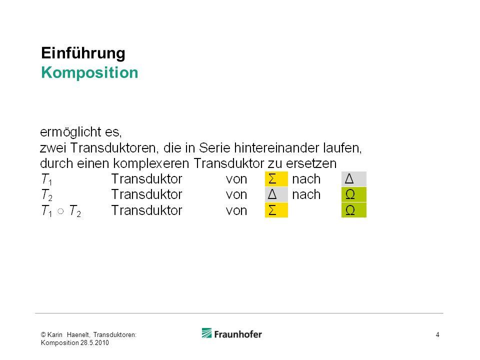Komposition von Transduktoren mit ε-Transitionen Beispiel © Karin Haenelt, Transduktoren: Komposition 28.5.2010 35 103 4 das:dBeispiel:n 120 3 d:[ε 1 :NPn:] ε:ε 1 A B sehr:ε 2 gute:ε 2 ε2:εε2:εε2:εε2:εε2:εε2:εε2:εε2:ε 2 vgl.