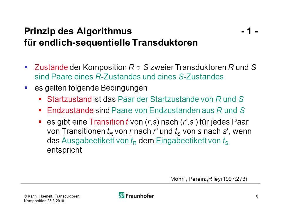 Prinzip des Algorithmus - 2 - für endlich-sequentielle Transduktoren Eingabe von t ist das Eingabeetikett von t R, Ausgabe ist das Ausgabeetikett von t S Gewicht von t ist das - Produkt der Gewichte von t R und t S, wenn die Gewichte Wahrscheinlichkeiten entsprechen (Operation durch den verwendeten Semiring bestimmt ) Transitionen mit ε-Kanten bedürfen einer Sonderbehandlung (s.