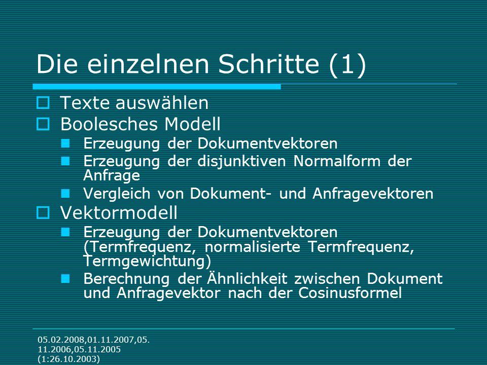 05.02.2008,01.11.2007,05. 11.2006,05.11.2005 (1:26.10.2003) Die einzelnen Schritte (1) Texte auswählen Boolesches Modell Erzeugung der Dokumentvektore