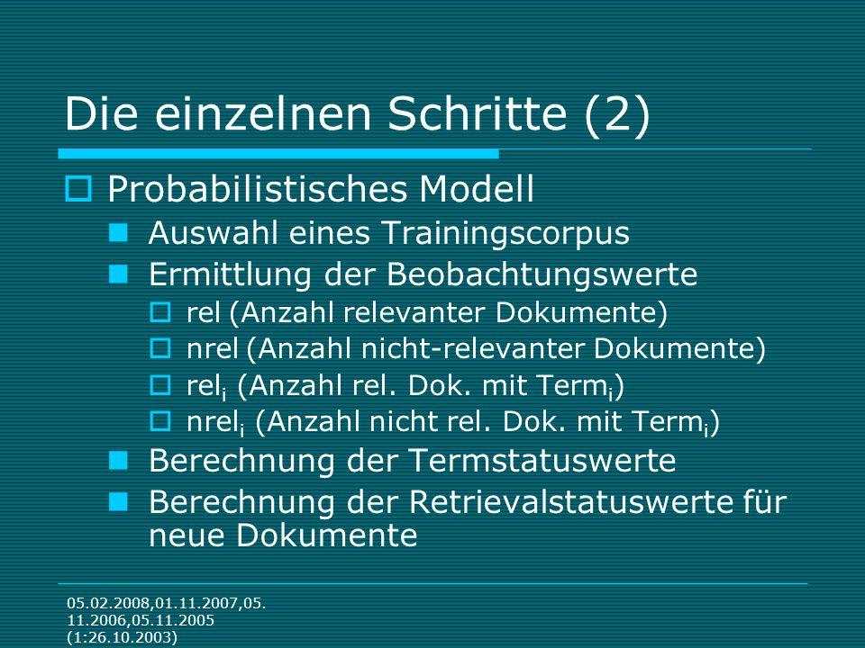 05.02.2008,01.11.2007,05. 11.2006,05.11.2005 (1:26.10.2003) Die einzelnen Schritte (2) Probabilistisches Modell Auswahl eines Trainingscorpus Ermittlu