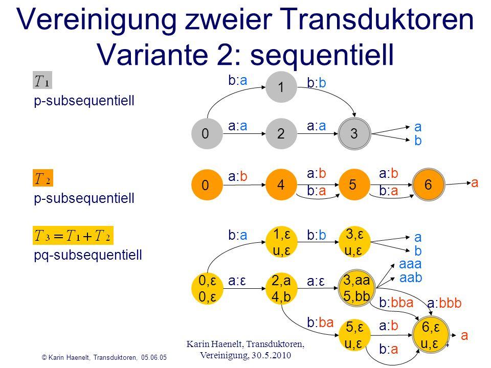 © Karin Haenelt, Transduktoren, 05.06.05 4 5 1 a:a 6 3 b:a a:b 2 b:a b:b a b 4 a:b 0 b:a a:b a 5,ε u,ε 1,ε u,ε a:ε b:bba a:bbb 6,ε u,ε aaa aab b:a a:b 2,a 4,b b:ba 0,ε b:ab:b 3,ε u,ε a b a 3,aa 5,bb p-subsequentiell pq-subsequentiell Vereinigung zweier Transduktoren Variante 2: sequentiell 0 p-subsequentiell Karin Haenelt, Transduktoren, Vereinigung, 30.5.2010