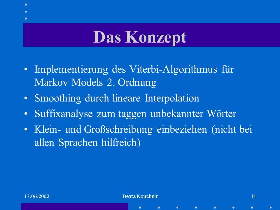 17.06.2002Beata Kouchnir11 Das Konzept Implementierung des Viterbi-Algorithmus für Markov Models 2.