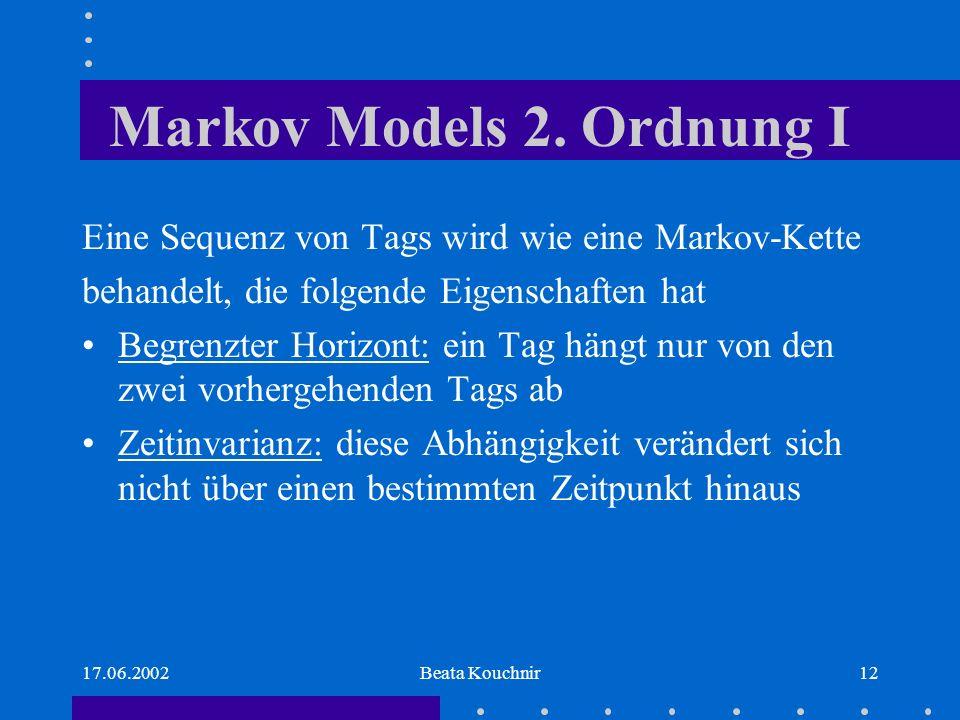 17.06.2002Beata Kouchnir12 Markov Models 2.