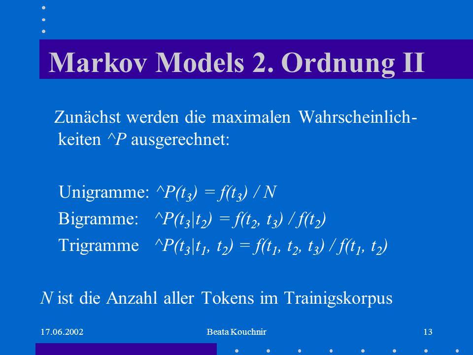 17.06.2002Beata Kouchnir13 Markov Models 2.