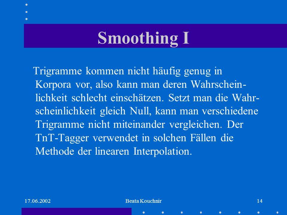17.06.2002Beata Kouchnir14 Smoothing I Trigramme kommen nicht häufig genug in Korpora vor, also kann man deren Wahrschein- lichkeit schlecht einschätzen.