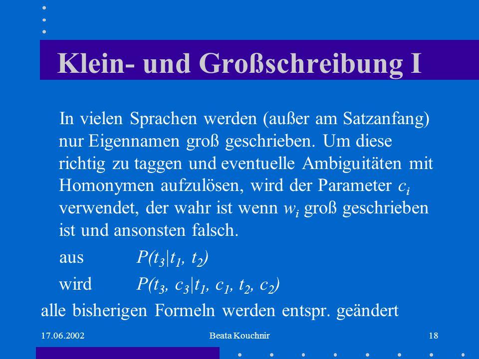 17.06.2002Beata Kouchnir18 Klein- und Großschreibung I In vielen Sprachen werden (außer am Satzanfang) nur Eigennamen groß geschrieben.