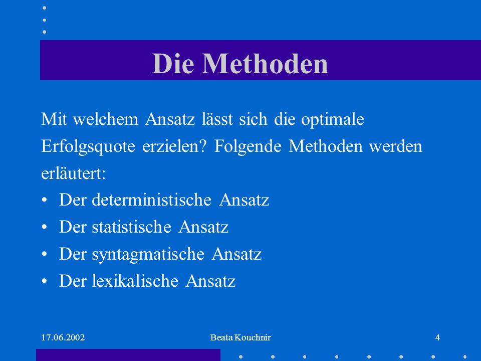 17.06.2002Beata Kouchnir4 Die Methoden Mit welchem Ansatz lässt sich die optimale Erfolgsquote erzielen.
