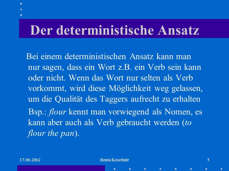 17.06.2002Beata Kouchnir5 Der deterministische Ansatz Bei einem deterministischen Ansatz kann man nur sagen, dass ein Wort z.B.