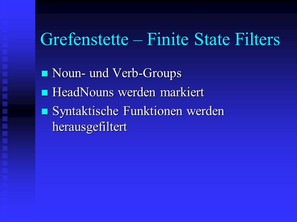 Grefenstette – Finite State Filters Noun- und Verb-Groups Noun- und Verb-Groups HeadNouns werden markiert HeadNouns werden markiert Syntaktische Funktionen werden herausgefiltert Syntaktische Funktionen werden herausgefiltert