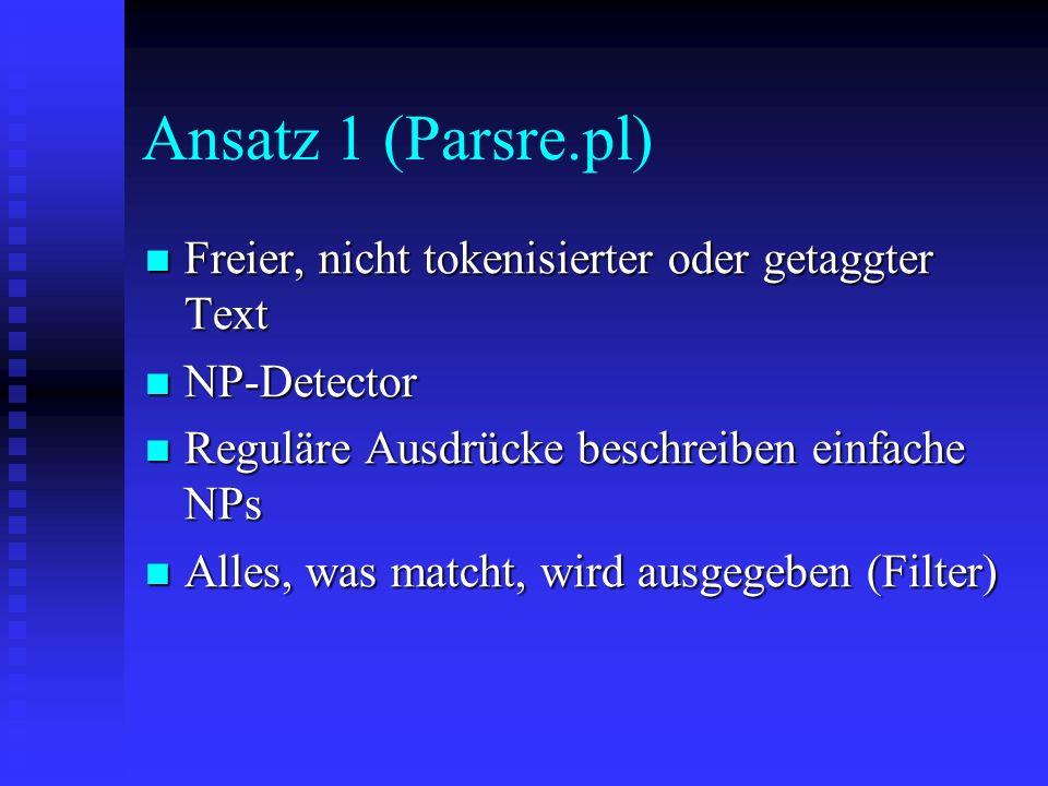 Ansatz 1 (Parsre.pl) Freier, nicht tokenisierter oder getaggter Text Freier, nicht tokenisierter oder getaggter Text NP-Detector NP-Detector Reguläre Ausdrücke beschreiben einfache NPs Reguläre Ausdrücke beschreiben einfache NPs Alles, was matcht, wird ausgegeben (Filter) Alles, was matcht, wird ausgegeben (Filter)
