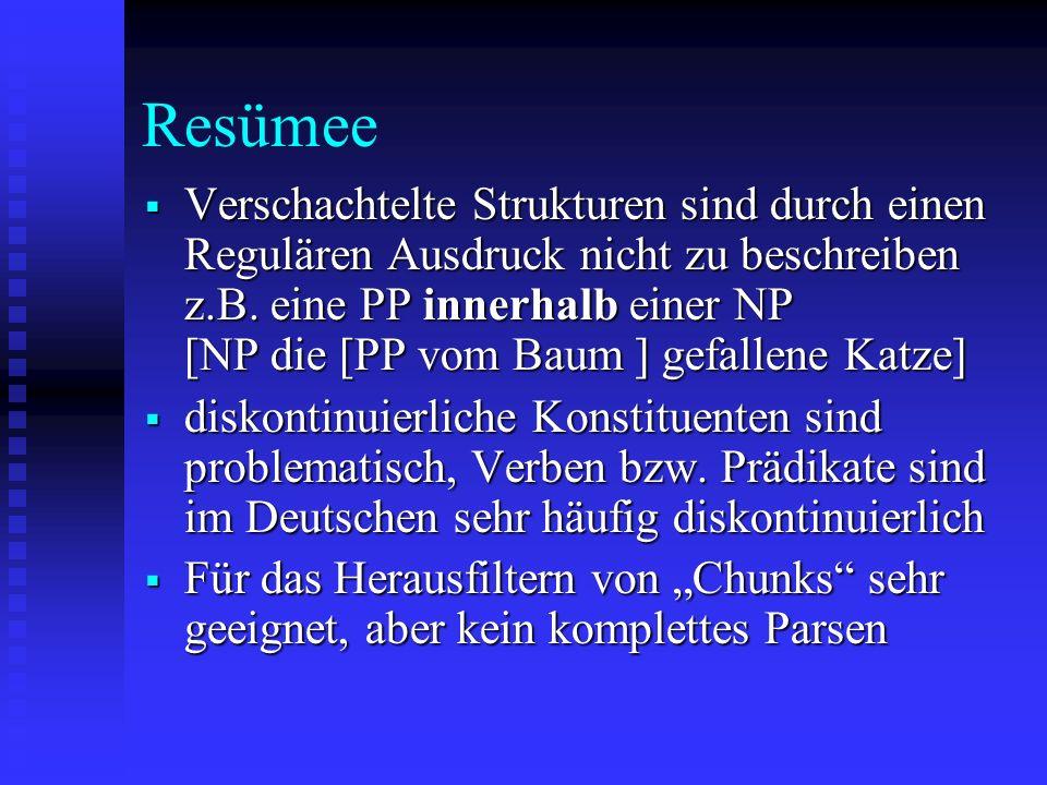 Resümee Verschachtelte Strukturen sind durch einen Regulären Ausdruck nicht zu beschreiben z.B. eine PP innerhalb einer NP [NP die [PP vom Baum ] gefa
