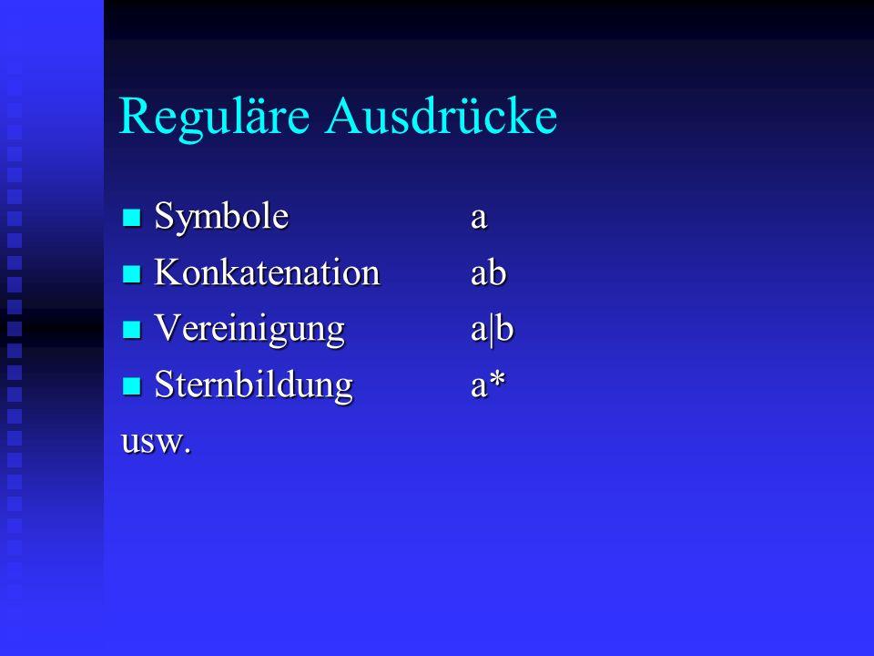 Reguläre Ausdrücke Symbolea Symbolea Konkatenationab Konkatenationab Vereinigunga|b Vereinigunga|b Sternbildunga* Sternbildunga*usw.