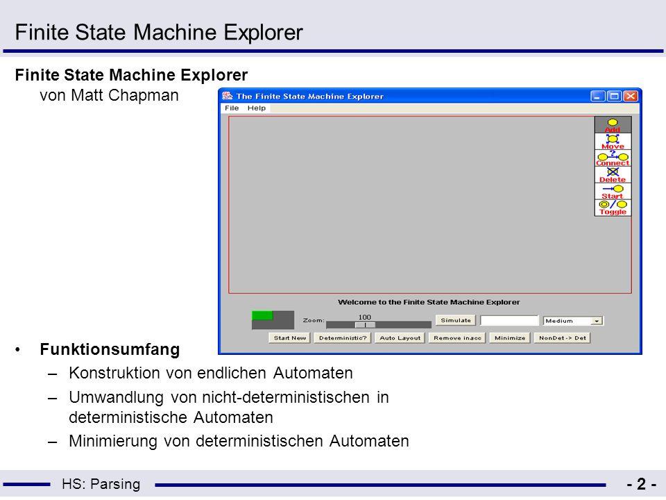 HS: Parsing - 3 - Ergebnis –Einfach zu bedienen –Laden und Speichern von Automaten möglich –Quellcode verfügbar –Zustände sind nicht beschriftet –Als Eingabesymbole nur Buchstaben und Ziffern möglich –Editieren von Verbindungen bzw.