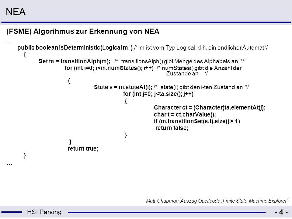 HS: Parsing - 4 - NEA (FSME) Algorihmus zur Erkennung von NEA … public boolean isDeterministic(Logical m ) /* m ist vom Typ Logical, d.h. ein endliche