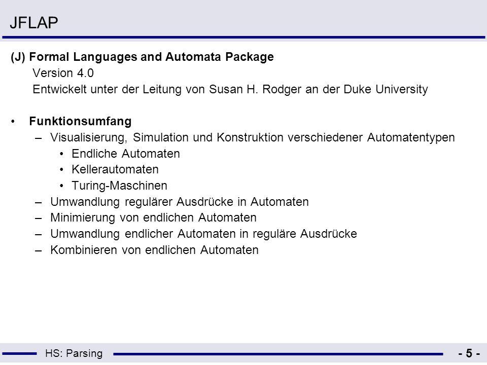 HS: Parsing - 5 - JFLAP (J) Formal Languages and Automata Package Version 4.0 Entwickelt unter der Leitung von Susan H. Rodger an der Duke University