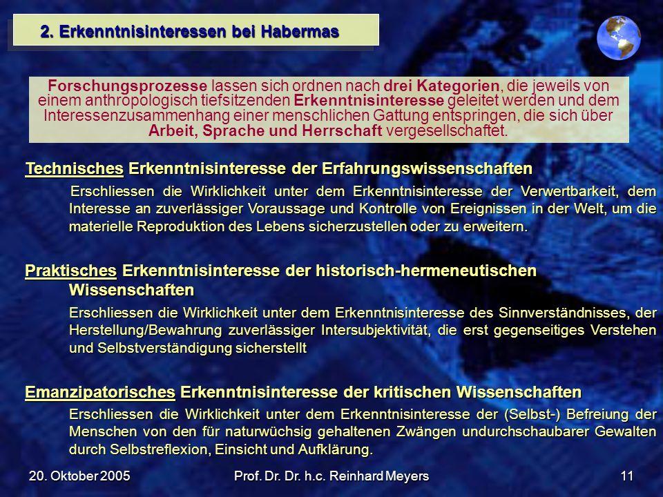 20. Oktober 2005Prof. Dr. Dr. h.c. Reinhard Meyers11 2. Erkenntnisinteressen bei Habermas Forschungsprozesse lassen sich ordnen nach drei Kategorien,