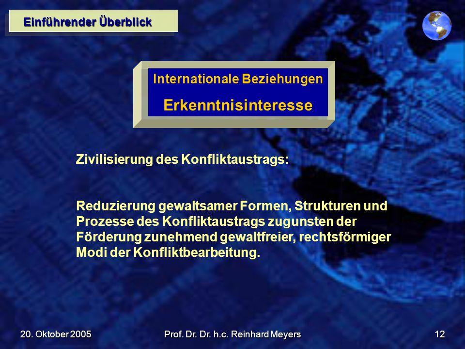20. Oktober 2005Prof. Dr. Dr. h.c. Reinhard Meyers12 Einführender Überblick Internationale Beziehungen Erkenntnisinteresse Zivilisierung des Konflikta