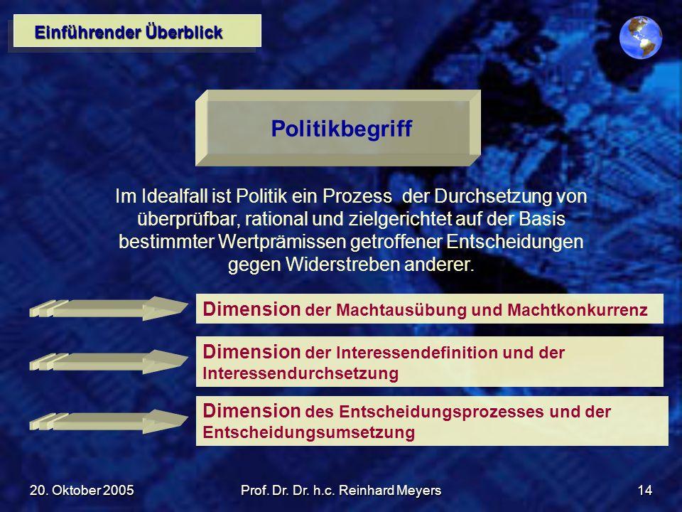 20. Oktober 2005Prof. Dr. Dr. h.c. Reinhard Meyers14 Einführender Überblick Politikbegriff Im Idealfall ist Politik ein Prozess der Durchsetzung von ü