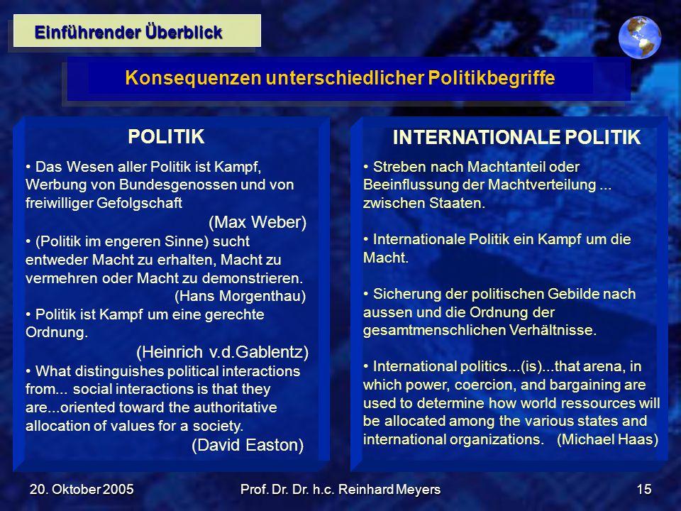 20. Oktober 2005Prof. Dr. Dr. h.c. Reinhard Meyers15 Einführender Überblick Konsequenzen unterschiedlicher Politikbegriffe POLITIK Das Wesen aller Pol