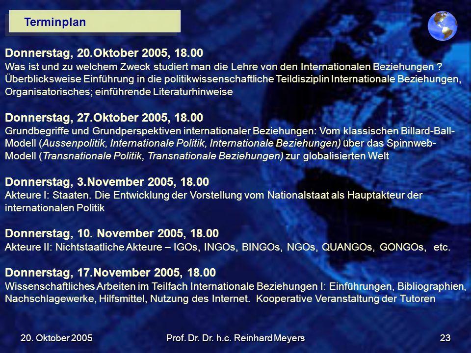 20. Oktober 2005Prof. Dr. Dr. h.c. Reinhard Meyers23 Terminplan Donnerstag, 20.Oktober 2005, 18.00 Was ist und zu welchem Zweck studiert man die Lehre