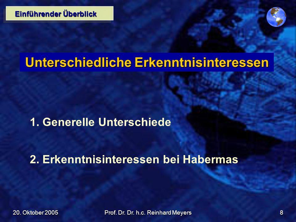 20. Oktober 2005Prof. Dr. Dr. h.c. Reinhard Meyers8 Einführender Überblick Unterschiedliche Erkenntnisinteressen 1. Generelle Unterschiede 2. Erkenntn