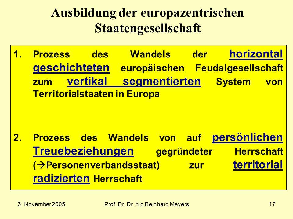 3. November 2005Prof. Dr. Dr. h.c Reinhard Meyers17 Ausbildung der europazentrischen Staatengesellschaft 1.Prozess des Wandels der horizontal geschich