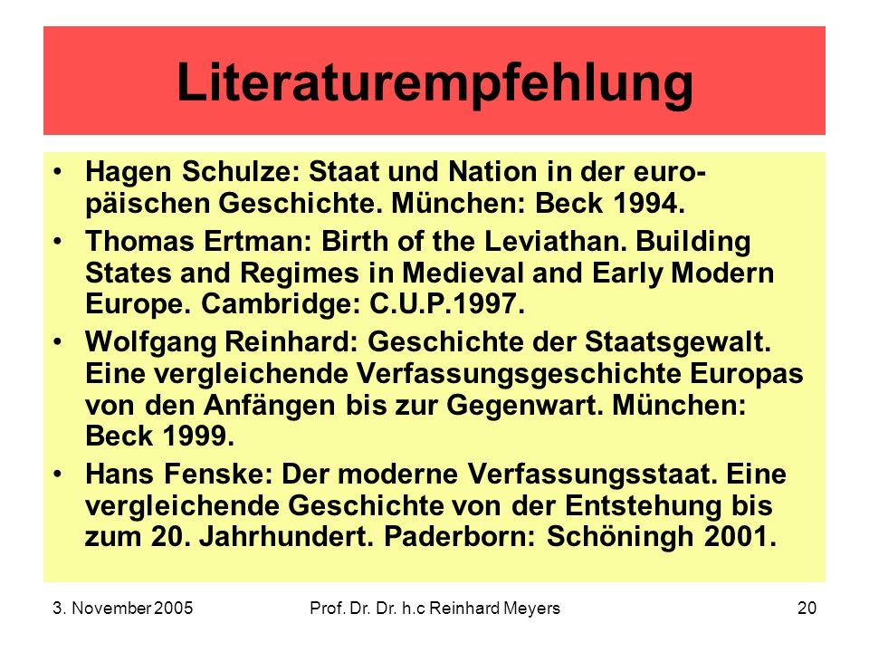 3. November 2005Prof. Dr. Dr. h.c Reinhard Meyers20 Literaturempfehlung Hagen Schulze: Staat und Nation in der euro- päischen Geschichte. München: Bec
