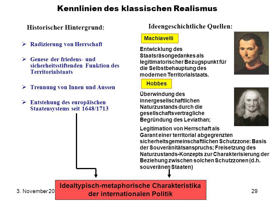 3. November 2005Prof. Dr. Dr. h.c Reinhard Meyers29 Kennlinien des klassischen Realismus Historischer Hintergrund: R adizierung von Herrschaft G enese