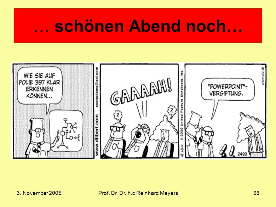3. November 2005Prof. Dr. Dr. h.c Reinhard Meyers38 … schönen Abend noch…