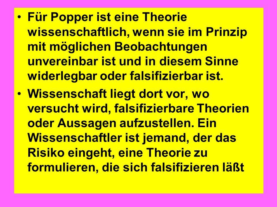Für Popper ist eine Theorie wissenschaftlich, wenn sie im Prinzip mit möglichen Beobachtungen unvereinbar ist und in diesem Sinne widerlegbar oder fal