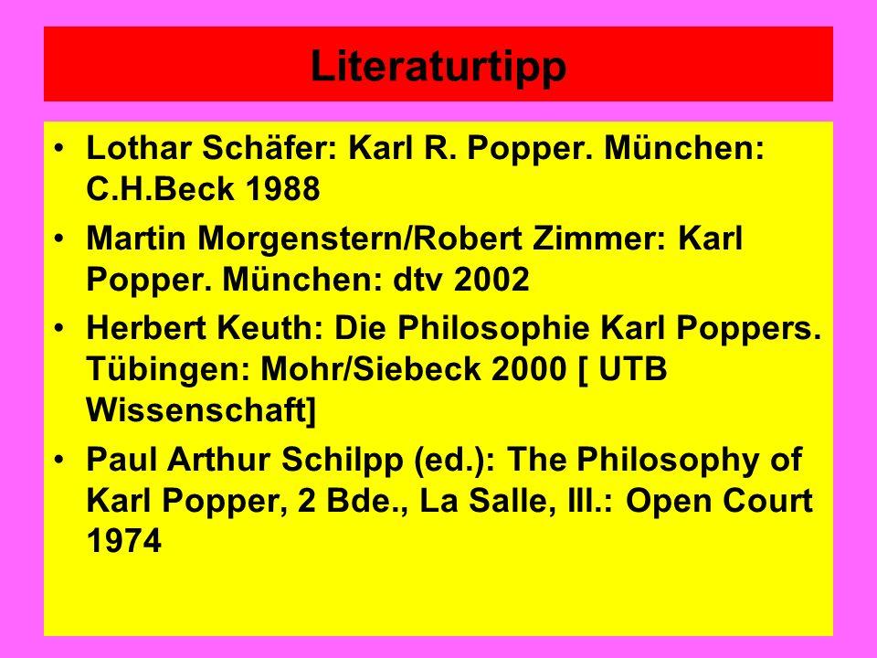 Literaturtipp Lothar Schäfer: Karl R. Popper. München: C.H.Beck 1988 Martin Morgenstern/Robert Zimmer: Karl Popper. München: dtv 2002 Herbert Keuth: D