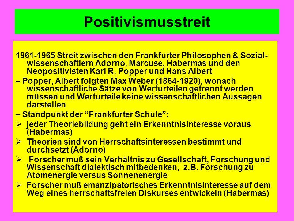 Positivismusstreit 1961-1965 Streit zwischen den Frankfurter Philosophen & Sozial- wissenschaftlern Adorno, Marcuse, Habermas und den Neopositivisten