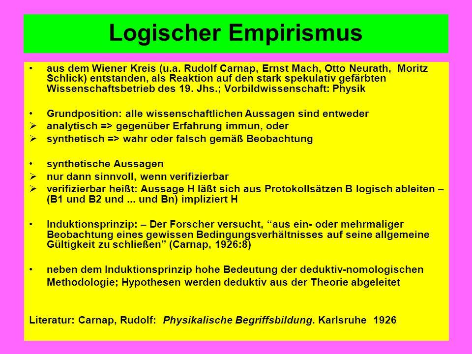 Logischer Empirismus aus dem Wiener Kreis (u.a. Rudolf Carnap, Ernst Mach, Otto Neurath, Moritz Schlick) entstanden, als Reaktion auf den stark spekul