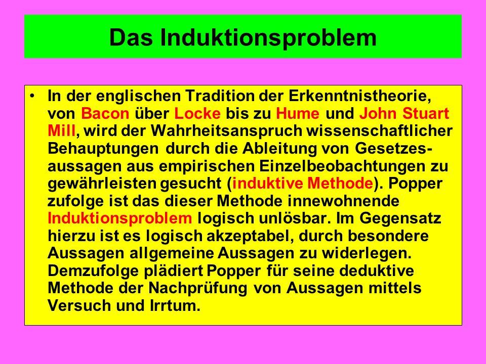 Das Induktionsproblem In der englischen Tradition der Erkenntnistheorie, von Bacon über Locke bis zu Hume und John Stuart Mill, wird der Wahrheitsansp