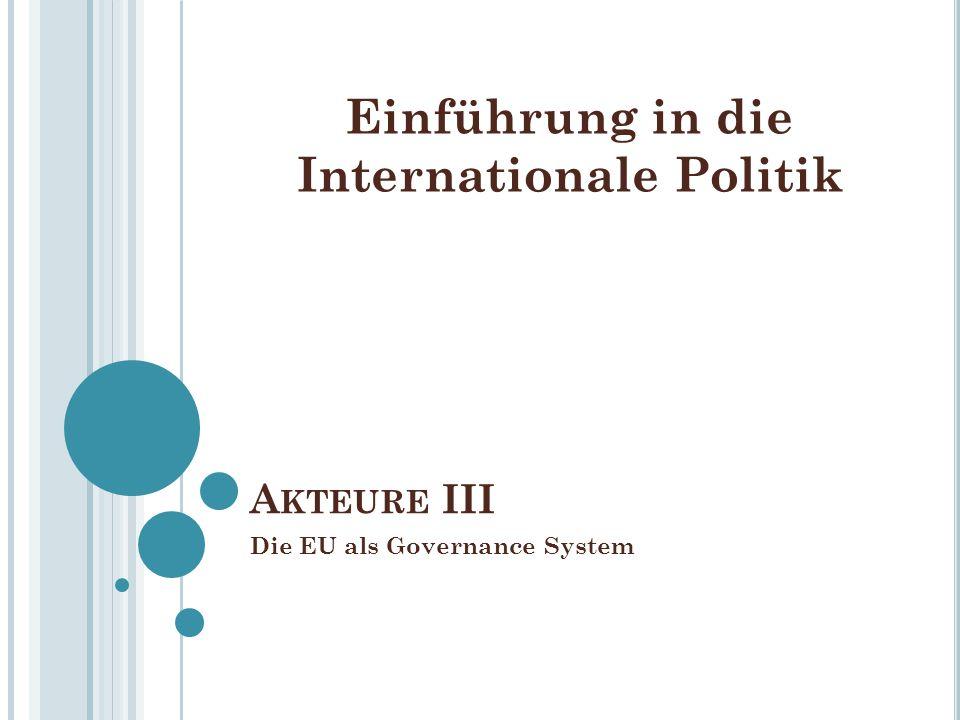 A KTEURE III Die EU als Governance System Einführung in die Internationale Politik