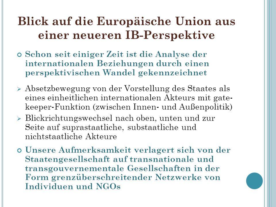 Blick auf die Europäische Union aus einer neueren IB-Perspektive Schon seit einiger Zeit ist die Analyse der internationalen Beziehungen durch einen p