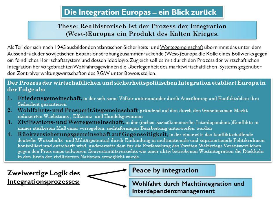 Die Integration Europas – ein Blick zurück These: Realhistorisch ist der Prozess der Integration (West-)Europas ein Produkt des Kalten Krieges.
