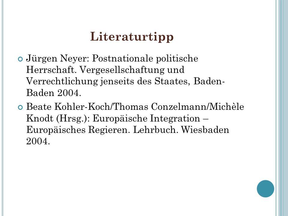 Literaturtipp Jürgen Neyer: Postnationale politische Herrschaft. Vergesellschaftung und Verrechtlichung jenseits des Staates, Baden- Baden 2004. Beate