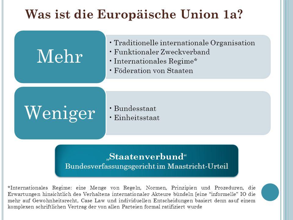 Was ist die Europäische Union 1a? Traditionelle internationale Organisation Funktionaler Zweckverband Internationales Regime* Föderation von Staaten M