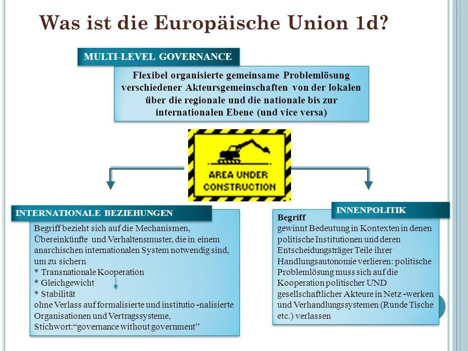 Was ist die Europäische Union 1d? Flexibel organisierte gemeinsame Problemlösung verschiedener Akteursgemeinschaften von der lokalen über die regional