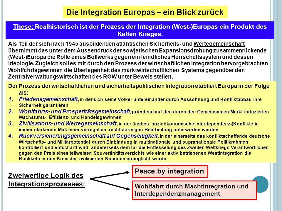 Die Integration Europas – ein Blick zurück These: Realhistorisch ist der Prozess der Integration (West-)Europas ein Produkt des Kalten Krieges. Als Te