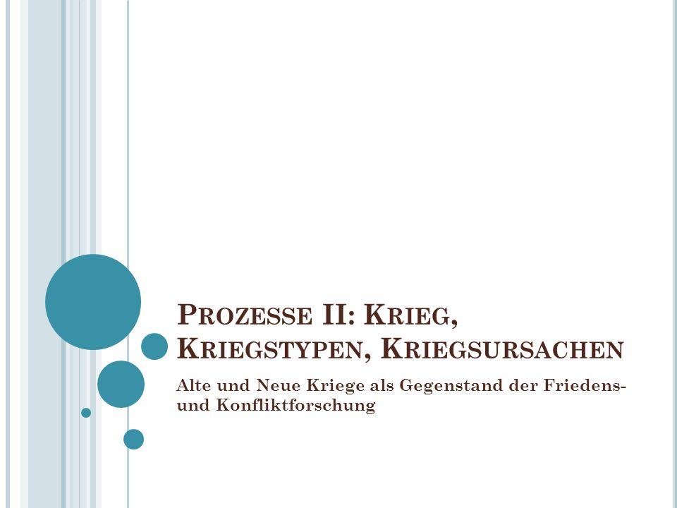 P ROZESSE II: K RIEG, K RIEGSTYPEN, K RIEGSURSACHEN Alte und Neue Kriege als Gegenstand der Friedens- und Konfliktforschung