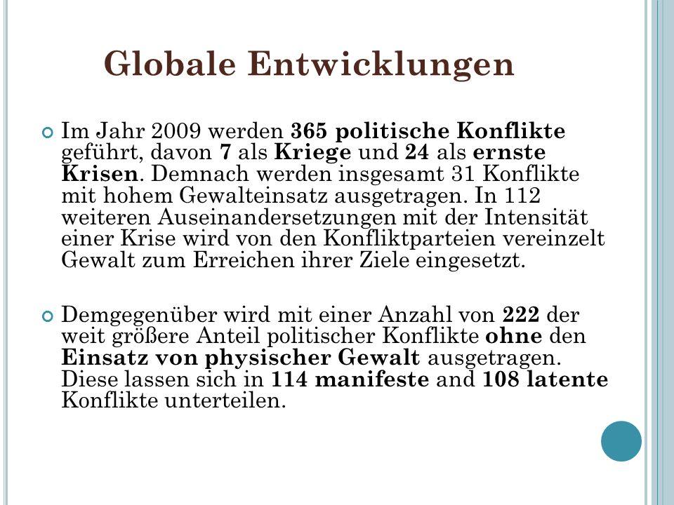 Globale Entwicklungen Im Jahr 2009 werden 365 politische Konflikte geführt, davon 7 als Kriege und 24 als ernste Krisen. Demnach werden insgesamt 31 K
