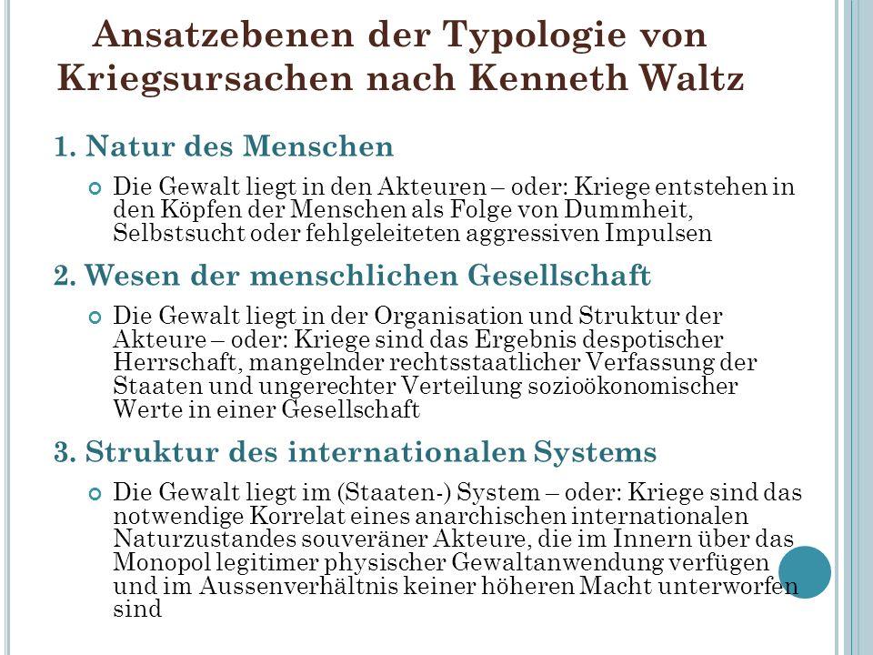 Ansatzebenen der Typologie von Kriegsursachen nach Kenneth Waltz 1.